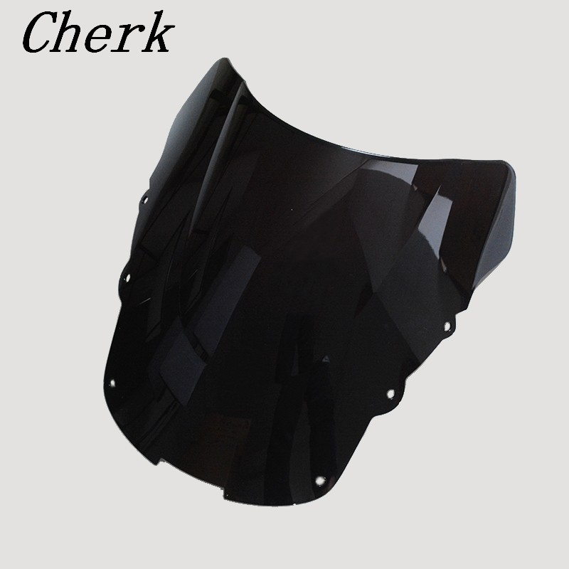 Cherk High Quality Motorcycle Black ABS Windshield WindScreen Double Bubble For HONDA CBR1100XX CBR 1100 XX 1996-2007 98 99