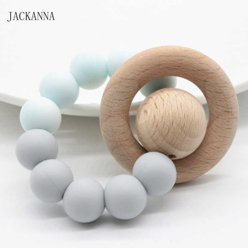 Natural Wooden Ring Silicone Beads Teether Rattle Baby Teething Bracelet Jewelry