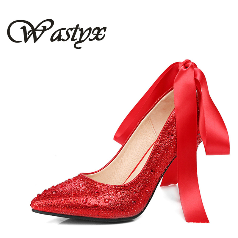 Crystal shoes 2017 new wedding shoes women pumps high heels pointed toe footwear fashion woman ladies casual shoes big size 43 plus big size 34 52 shoes woman 2017 new arrival wedding ladies high heel fashion sweet dress pointed toe women pumps e 177