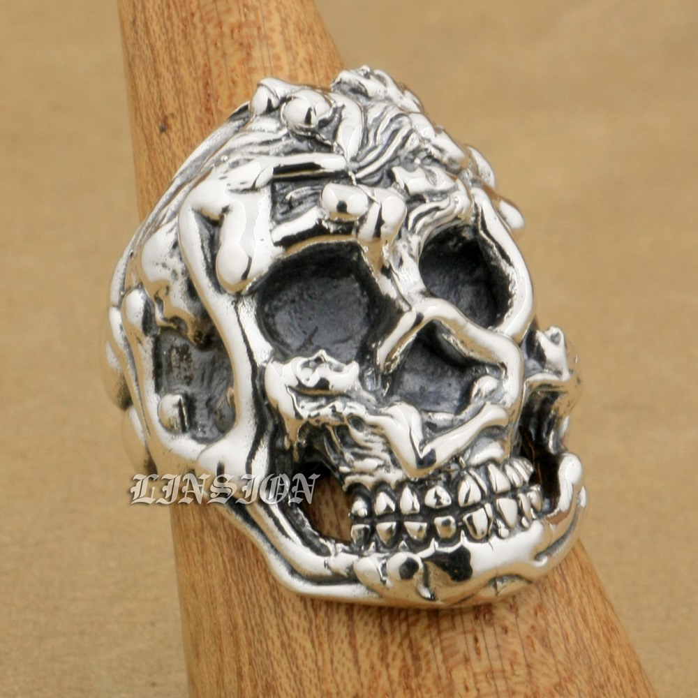 LINSION Erotic Nude 925 Sterling Silver Sexy Naked Grils Huge Heavy Skull Ring 9T025 US Size