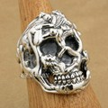 LINSION Erotic Nude 925 Sterling Silver Sexy Naked Grils Huge Heavy Skull Ring 9T025 US Size 8 to 15