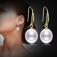 XF800 18K Gold Earrings Natural Fresh Water Au750 Pearl Drop Earrings Fine Jewlery Wedding Party Gift For Women Girl E235