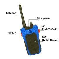 מכשיר הקשר לבנות בלוקי DIY בריק המותאם הקובייה 120pcs ילדים אינטרקום מכשיר הקשר עיצוב לילדים 100 מטר הרדיו נייד טווח Talking (4)