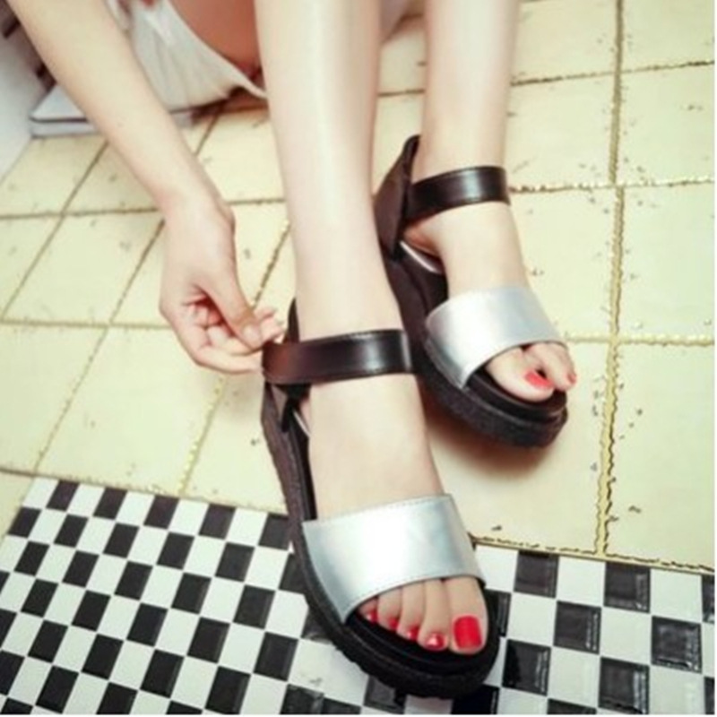 2017 summer new Korean muffin thick crust slope with high-heeled black shoes Fashion fish head Roman sandals flat shoes tide slope with super high heels 14cm platform shoes sandals and slippers spring and summer fish head thick crust waterproof shoes