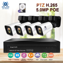 ZSVEDIO Surveillance System Security IP Camera 4CH H.265 PTZ 5.0MP POE 4X Zoom NVR Kit Full HD Video Security CCTV Camera System