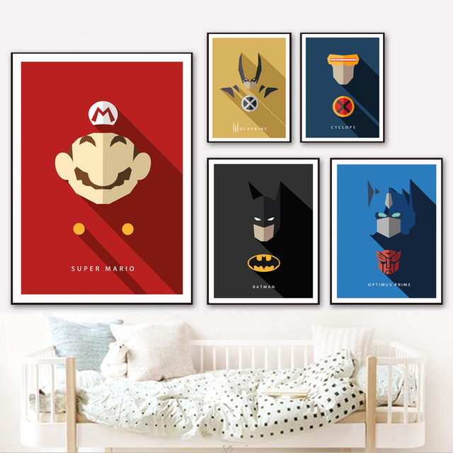 Super Mario Batman Super hero Wolverine Posters