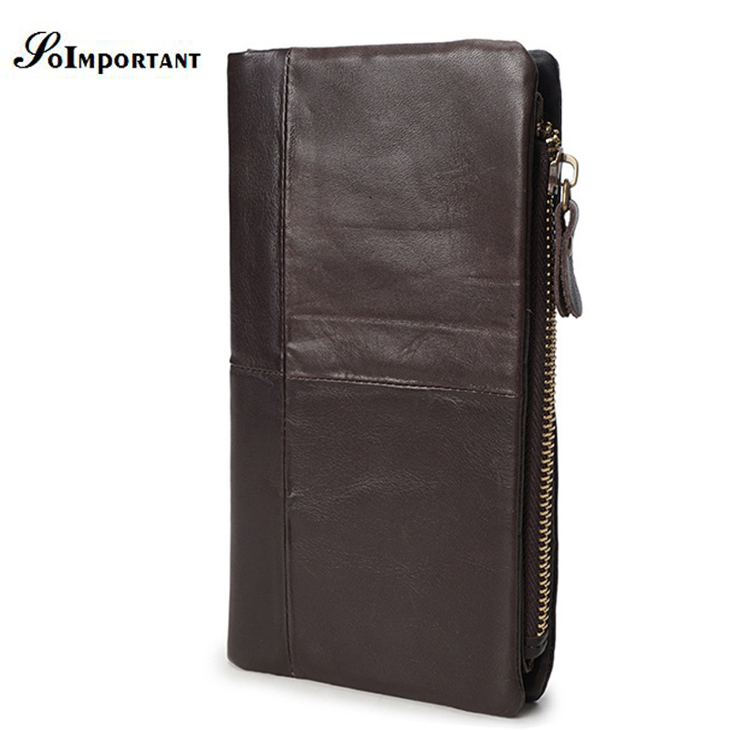 New Vintage Genuine Leather Men Wallets Male Zipper Long Clutch Coin Purse Mens Walet Portomonee Luxury With Separate Pocket