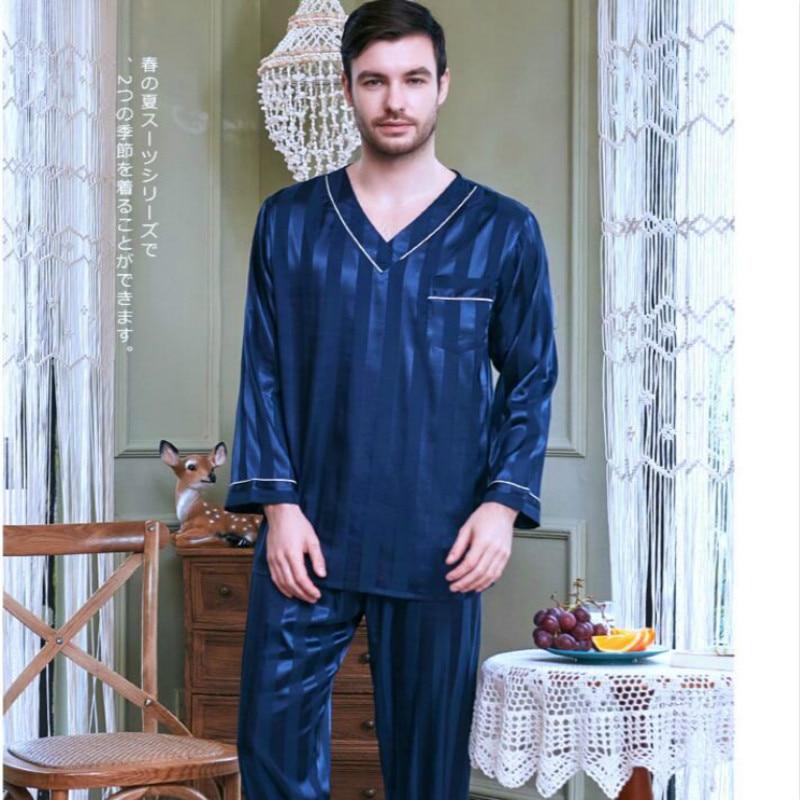 Men's Sleepwear All Season Homewear Long Sleeve Night Suits Adult Ice Silk Nightgowns 2pcs Sets Large Size Nightwear J005