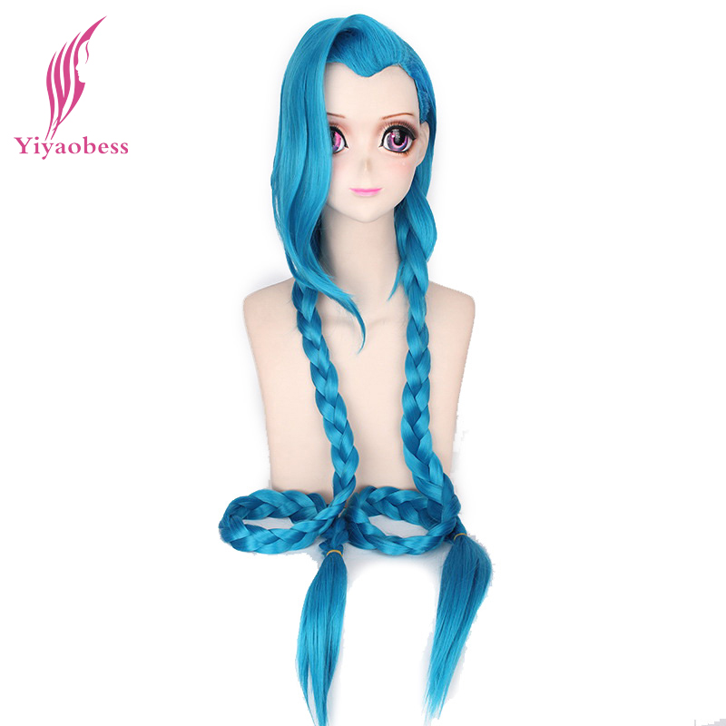 Yiyaobess 110cm LOL Jinx Cosplay Wig Blue Ponytail Braids League Of Legends Long Synthetic Hair Wigs For Halloween Costume Party