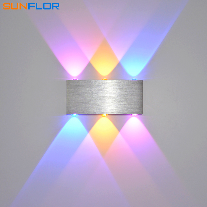 LED պատի լույսերը 6W գունագեղ Sconce ներսի պատի լամպ Ժամանակակից տան լուսավորության մակերեսով տեղադրված պատի լույսը