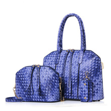3pcs sets Famous Brand Knitting Women Bag Top Handle Bags 2017 Fashion Women Messenger Bags Handbag