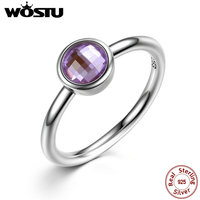 Aliexpress Pure 100 925 Sterling Silver Poetic Droplet Engagement Ring With Purple CZ For Women Luxury