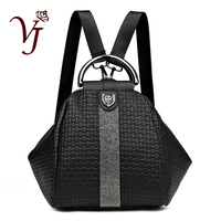 Women 3 in 1 Backpack Black Backpacks Ladies Leather Luxury Ladies Hand Bags sac a dos Travel Weave SchoolBag mochila feminina