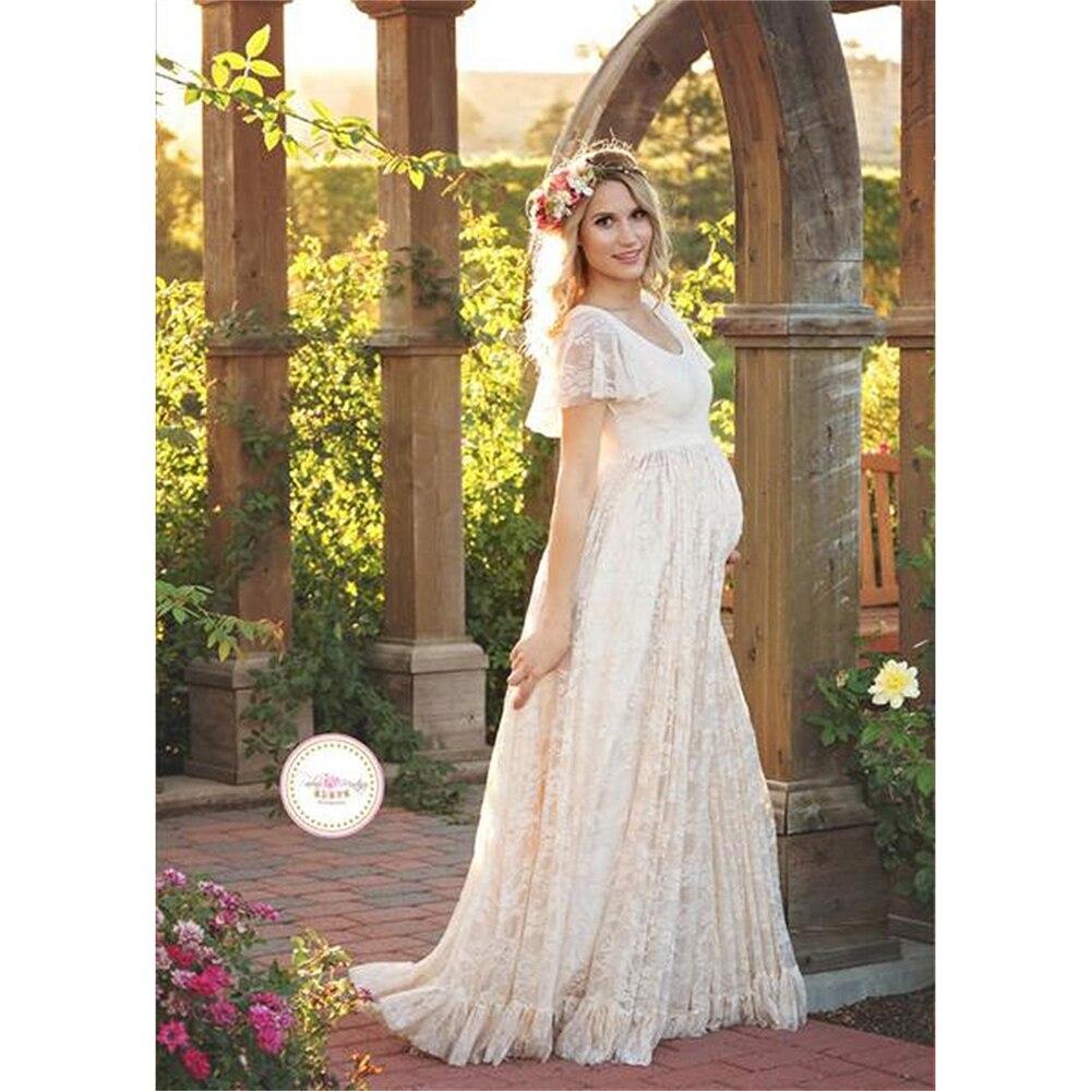 Short Sleeve Pregnant Women Dress Solid High Waist Mommy Pregnancy Clothing Beautiful Elegant Lace New Maternity: Cher Short Sleeves Wedding Dresses At Websimilar.org