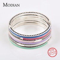 MODIAN Authentic 100 Solid 925 Sterling Silver Bracelet Fashion Chain Green Blue Enamel Bangle Cubic Zirconia