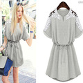 New Summer Women's Dress Ladies' Short Sleeve Lace Hollow Grey And White Flower Casual Dress Plus size 2XL vestidos