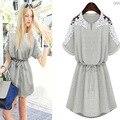Nova verão vestido das senhoras vestido cinza e branco flor de manga curta Plus size 2XL vestidos
