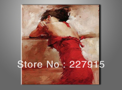 buy sexy woman red dress painting 100 handmade modern abstract oil painting on. Black Bedroom Furniture Sets. Home Design Ideas