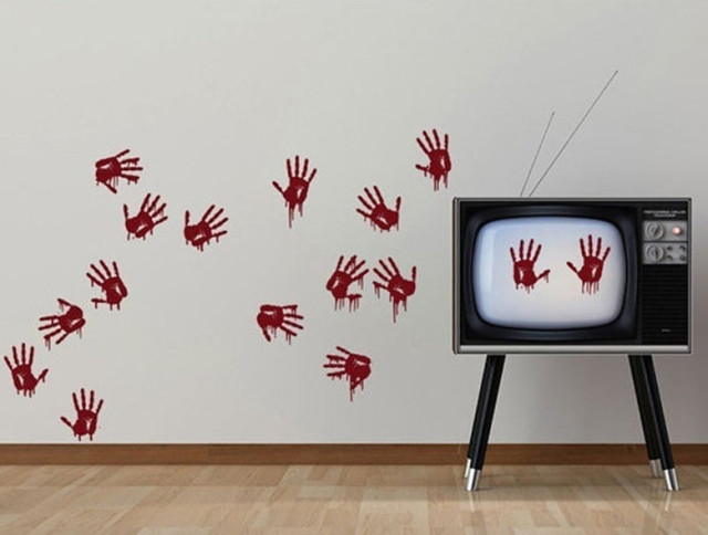 YINGKAI Bloody Hand Prints Creepy Living Room Vinyl Carving Wall - Vinyl wall decals home party