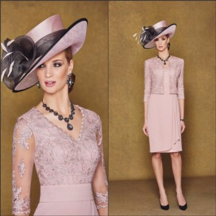 Elegant-Chiffon-Pink-Mother-of-the-Bride-Lace-Dresses-With-Jacket-2015-Sheath-V-Neck-Mother