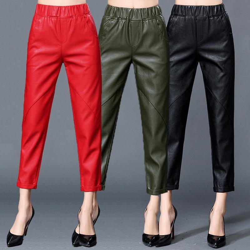 Leather Leather Pants Female 2020 New Autumn And Winter Wear High Waist Nine Pants Sheep Skin Feet Loose Leisure Harem Pants