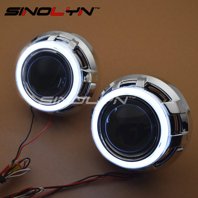 SINOLYN 3.0 Pro HID Bi xenon Lenses Headlight Car Projector Lens COB LED Angel Eyes Halo DRL Headlamp Retrofit DIY Car-styling  car styling automobiles 3 0 metal bi xenon hid lens with led cob drl angel eyes for projector headlight h1 h4 h7