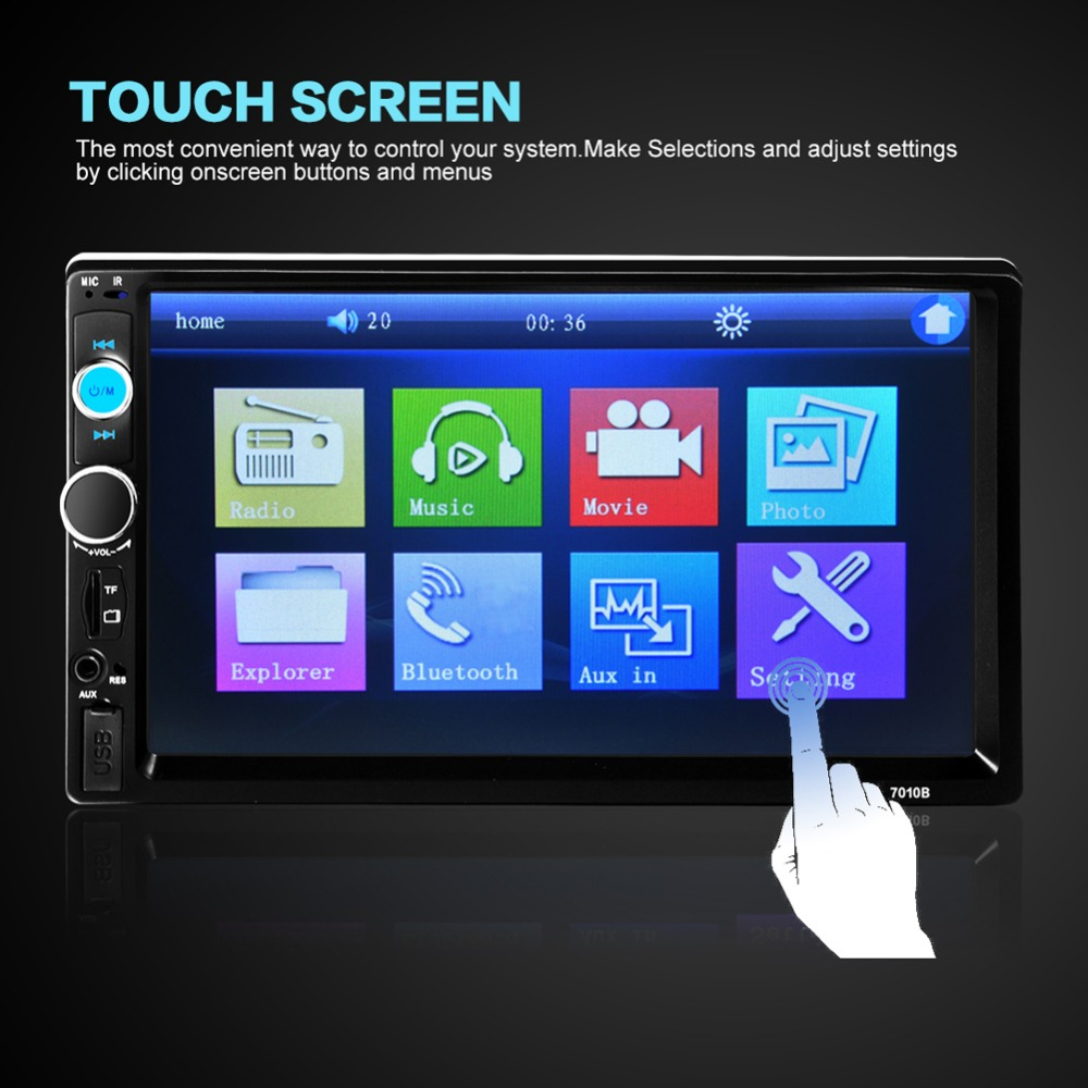 "2 Din Car Video Player DVD 7"" TFT Touch Screen Bluetooth"