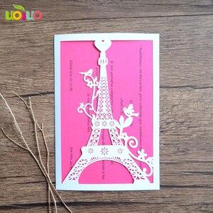 Image 3 - 100 stücke einzigartige Turm liebe hochzeit einladungskarte laser geschnitten papier priniting einladungen modell