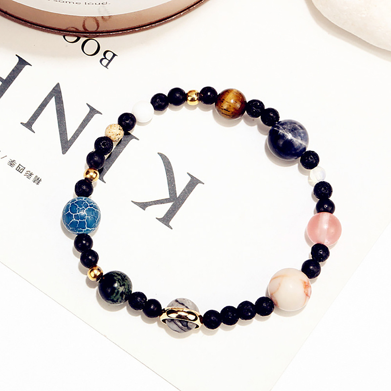 Universe 9 Planets Star Natural Stone Beads Bracelet in the Solar System Guardian Elastic Bracelets Bangles for Women Men Gifts