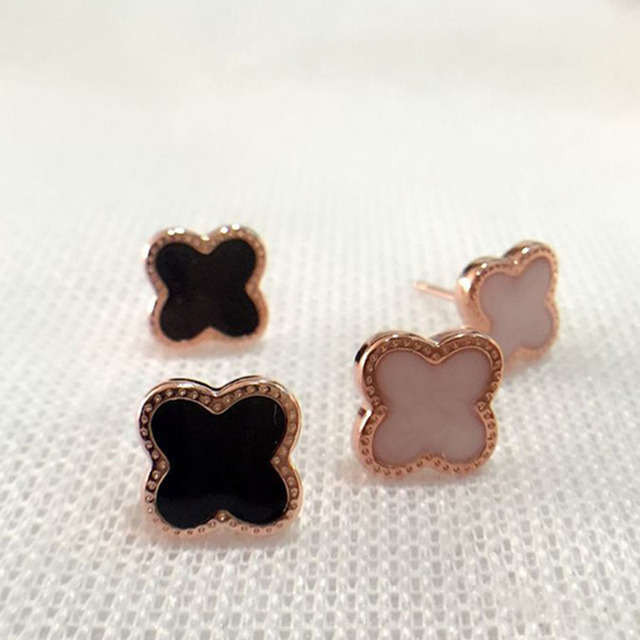 Exquisite Cute Gold Plated Four Leaf Clover Stud Earrings Korean Fashion Brand Women Earring Costume Accessories pendientes
