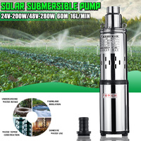 High Quality Flow Lift 40/60 meters DC 24/48V Submersible Solar Water Pump Deep Well Pump Built in Controller 200/280W 16L/Min