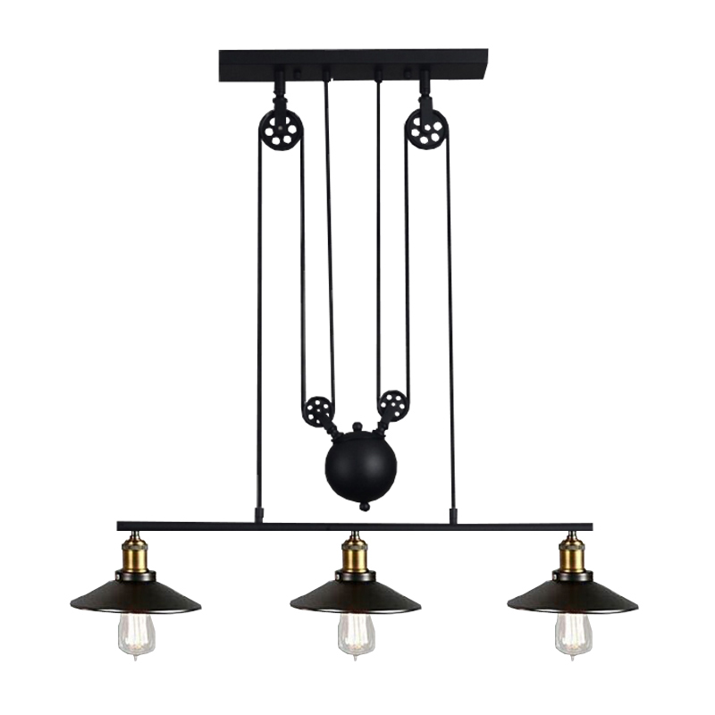 Vintage Adjustable Pendant Lamps Iron Coffee House Indoor 3 lights Pulley Bar Kitchen Home Decoration E27 Edison Fixtures
