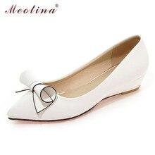 Meotina Chaussures Femmes Arc Talons Bas Dames Talons Compensés Chaussures De Mariée Chaussures En Cuir verni Blanc Rouge Plus La Taille 9 10 40 42 43