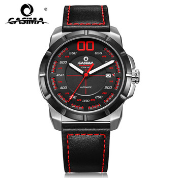 CASIMA Luxury Sport Stainless Steel Leather Straps Automatic Mechanical Watches Waterproof for Men with Date 6911
