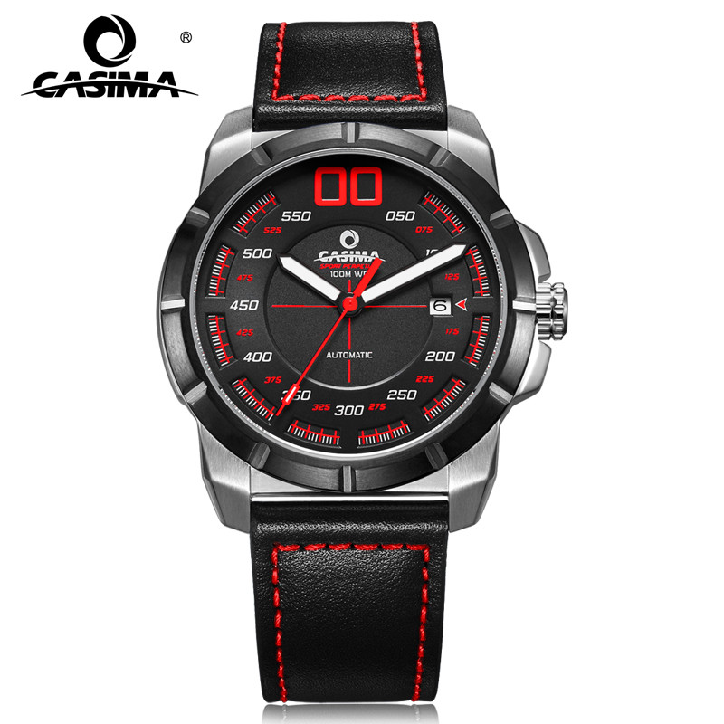 CASIMA luxury sport stainless steel leather straps automatic mechanical watches waterproof for men with date 6911 tevise fashion auto date automatic self wind watches stainless steel luxury gold black watch men mechanical t629a with tool