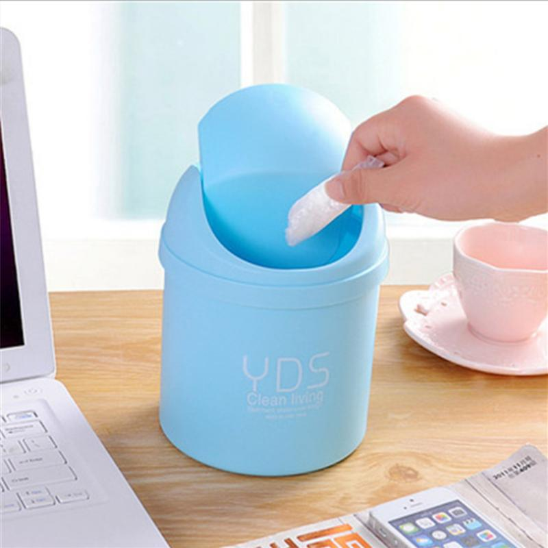 Mini Desktop Storage Box Waste Container Desktop Cleaning Barrel Creative Small Desk Organizer Storage Dustbins ...