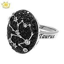 Hutang Steampunk 925 Sterling Silver Rings for Women Taurus Constellation Genuine Black Spinel White Topaz Gems Finger Ring Gift