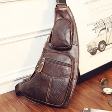 High Quality Men Genuine Leather Cowhide Vintage Sling Chest Back Day Pack Travel