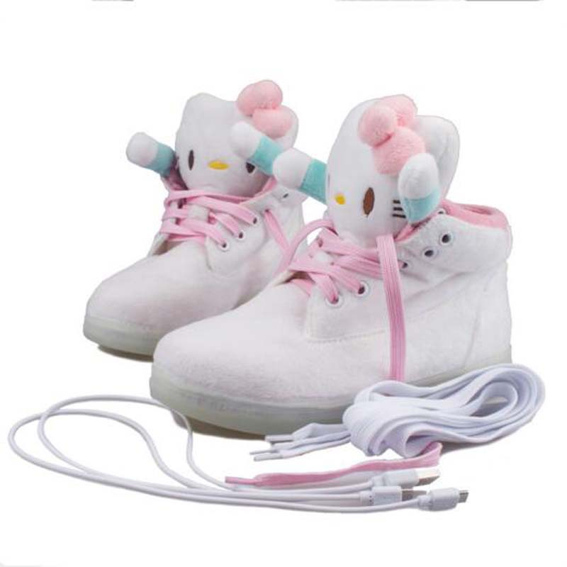 Euro size 30-40 Hello Kitty USB charging shoes Children LED Luminous shoes casual kids girls fashion sneakers brand girls shoes glowing sneakers usb charging shoes lights up colorful led kids luminous sneakers glowing sneakers black led shoes for boys