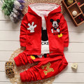 Autumn Winter Mickey Set Clothing For Boy Girl Sport Suit  Toddler Kid Tracksuit Minnie Mouse Jacket+T Shirt+Trouser 3pcs Kit