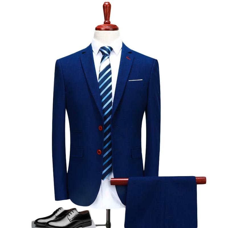 3 Piece Suit Men 2019 Slim Fit Blue Groom Wedding Suits For Men Classic Mens Designer Suits Brand Formal Wear Q136