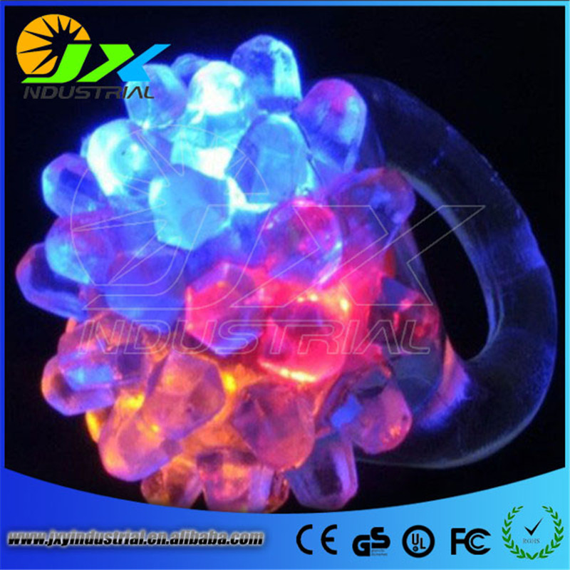 20pcs/lot LED Light Strawberry Flashing Finger Ring, Elastic Rubber Ring, Event Party Supplies Glow Toys