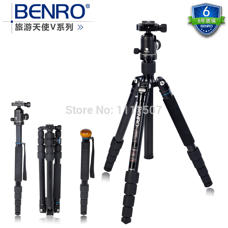 DHL gopro Benro A2292TV1 Aluminium Monopod Tripod+ Ball Head Tripod Monopod Alpenstock 3 in 1 max loading 14kg  wholesale dhl gopro benro a550fhd2 urban elf kit aluminum tripod three dimensional head camera tripod