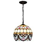 Lampes suspendues de chambre Tiffany Baroque 12 pouces Restaurant boule de verre lampes suspendues balcon Bronze métal goutte lumière