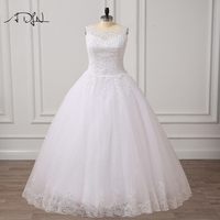 ADLN Scoop A Line Plus Size Wedding Dresses With Lace Up Back 2017 Tulle Applique White