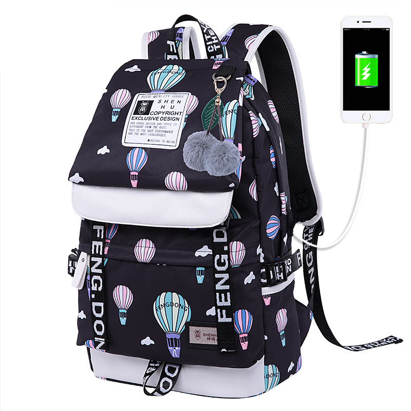 New Children Printed School Student Book Bag Waterproof Travel Backpack Large Size USB College Schoolbag For Teenager Girls Boys