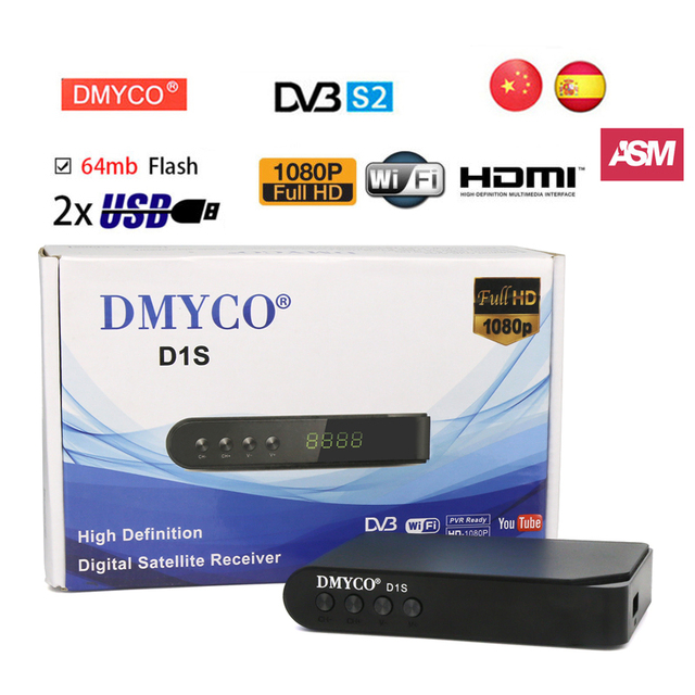 ship from spain D1S digital satellite receiver DVB-S2 1080P HD FTA LNB receptor satelite decoder Support Youtube Youporn PowerVu