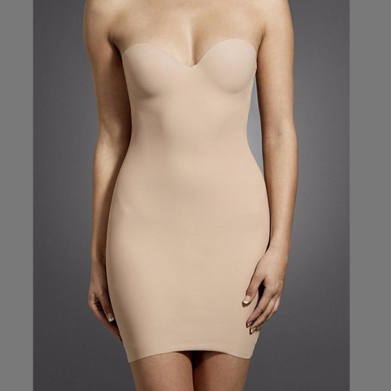 Image 4 - Womens Sculpt Strapless Contour Bra Slip Dress Sexy Smooth Seamless ShapewearControl Slips   -