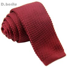 Men's Solid Burgundy Tie Classical Knit Tie Slim Skinny Knitted Ties Groom Wedding Party Business Necktie ZZLD916(China)