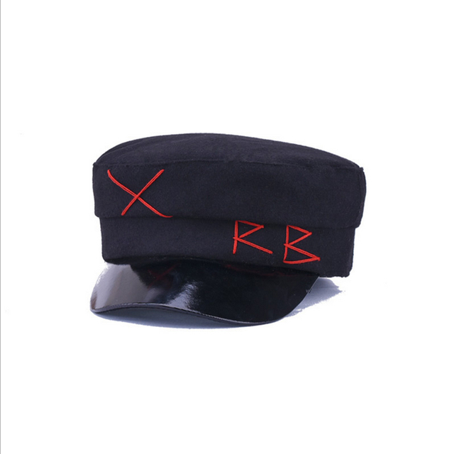 03c6691954a33 Hairy Winter Black Flat Hat Cap Women Men Fashion Berets Hat for Girls  street style Beret Caps Women Brand Hat Military Cap